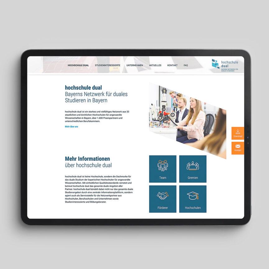 hochschule dual Website Relaunch Tablet Ansicht