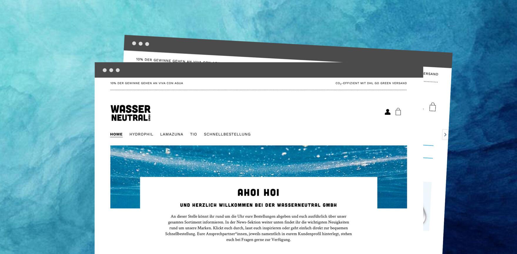 Wasserneutral B2B Onlineshop Startseite