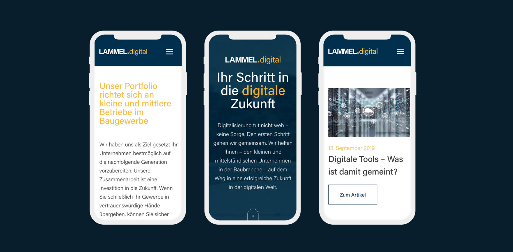 mobile Ansicht Lammel digital Website