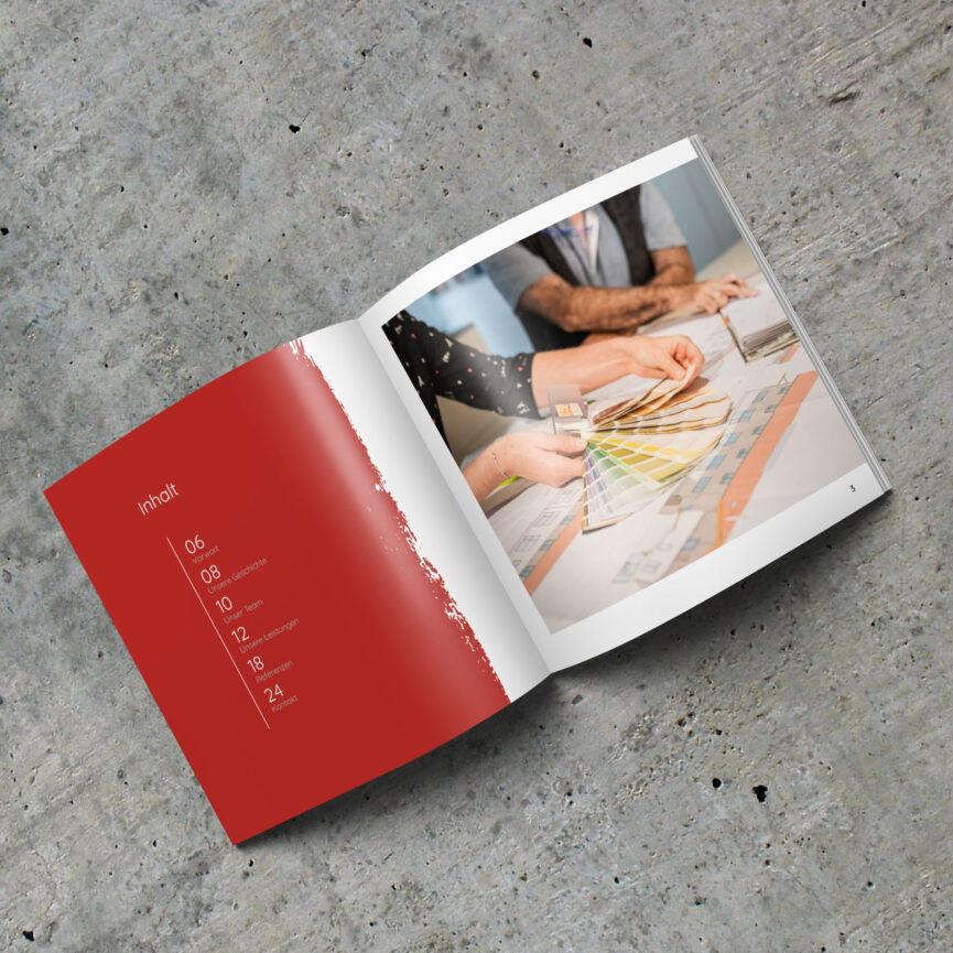 Maler Weber Imagebroschuere Farbfaecher Inhaltsverzeichnis