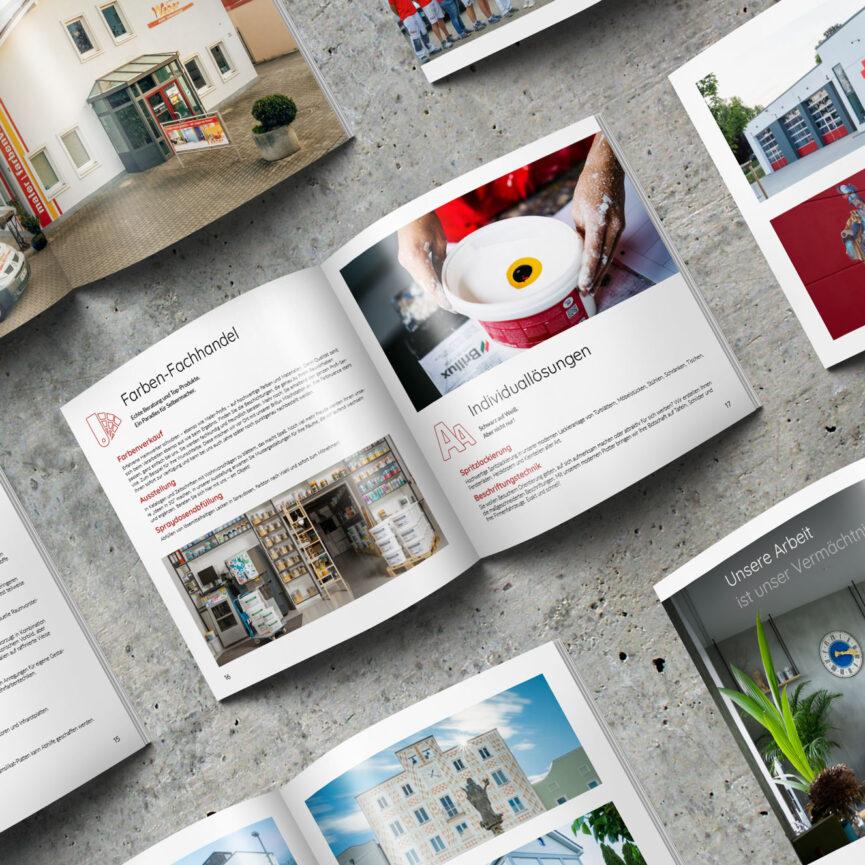 Maler Weber Imagebroschuere Farbenfachhandel Individualloesungen Verkauf Spraydosenabfuellung