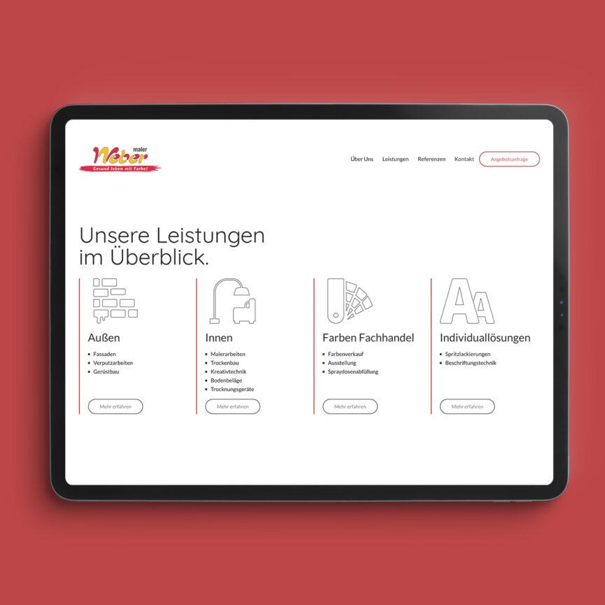 Maler Weber Website Relaunch mobile Version responsive Design Leistungen