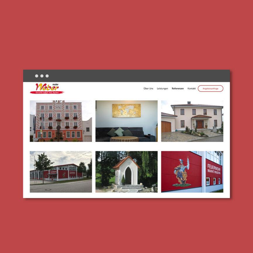 Maler Weber Website Relaunch Unterseite Referenzen Galerie