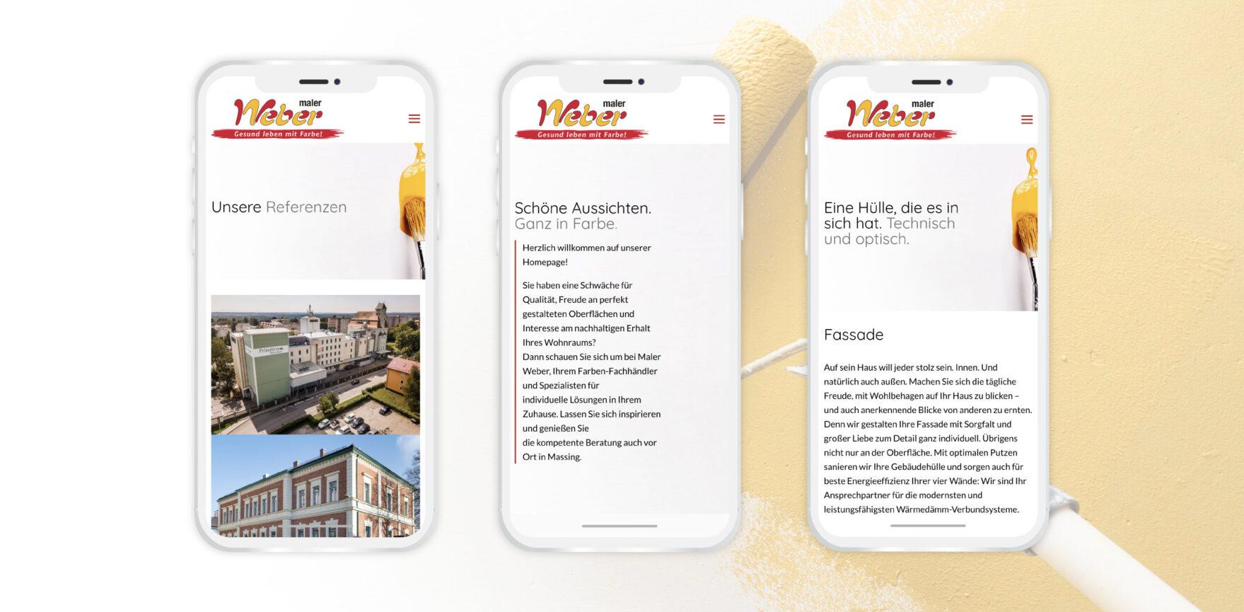 Maler Weber Website Relaunch mobile Version responsive Design Referenzen Leistungen