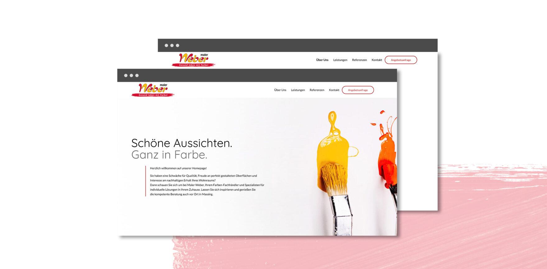 Maler Weber Website Relaunch Startseite Header Pinsel Farbe