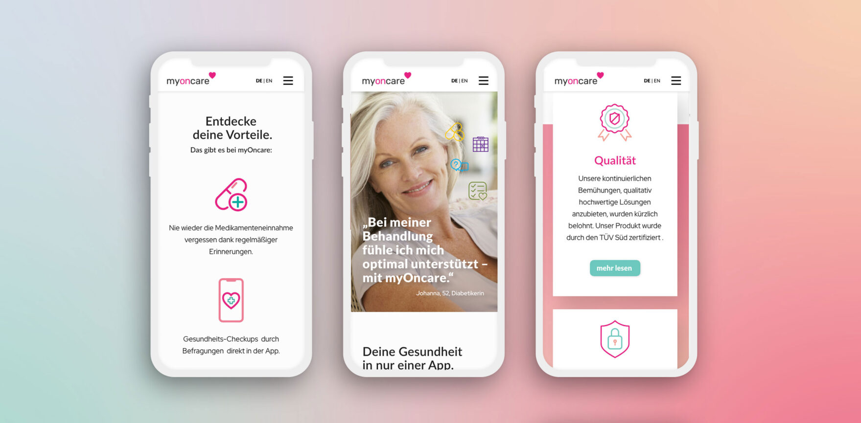 OnCare Webdesign mobile Ansicht