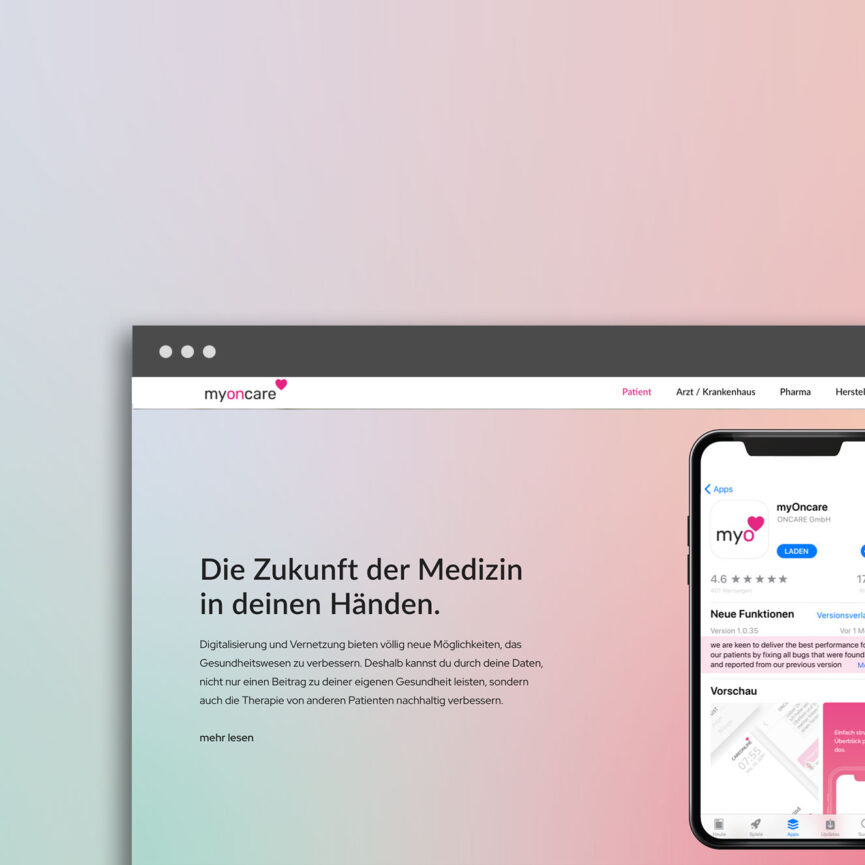 OnCare Webdesign Desktop Ansicht