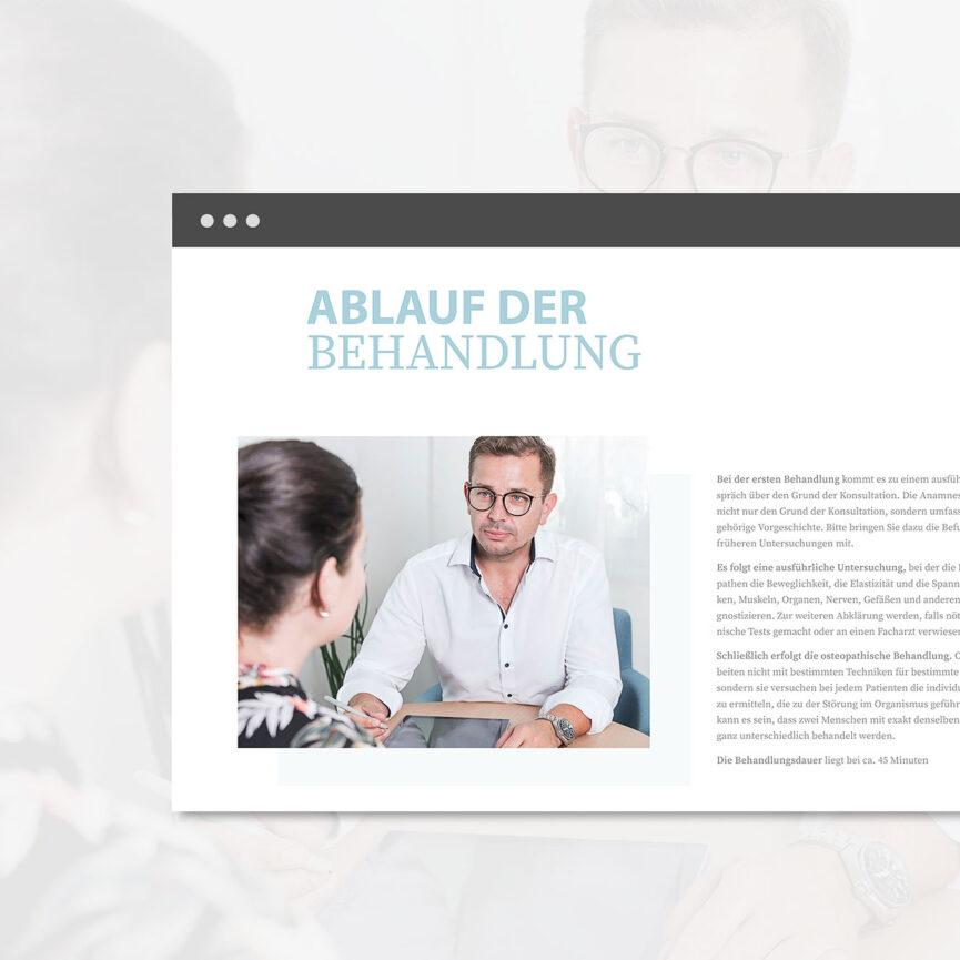 """Website Startseite Osteopathie Lorenz Rabanter - Rubrik """"Ablauf der Behandlung"""""""