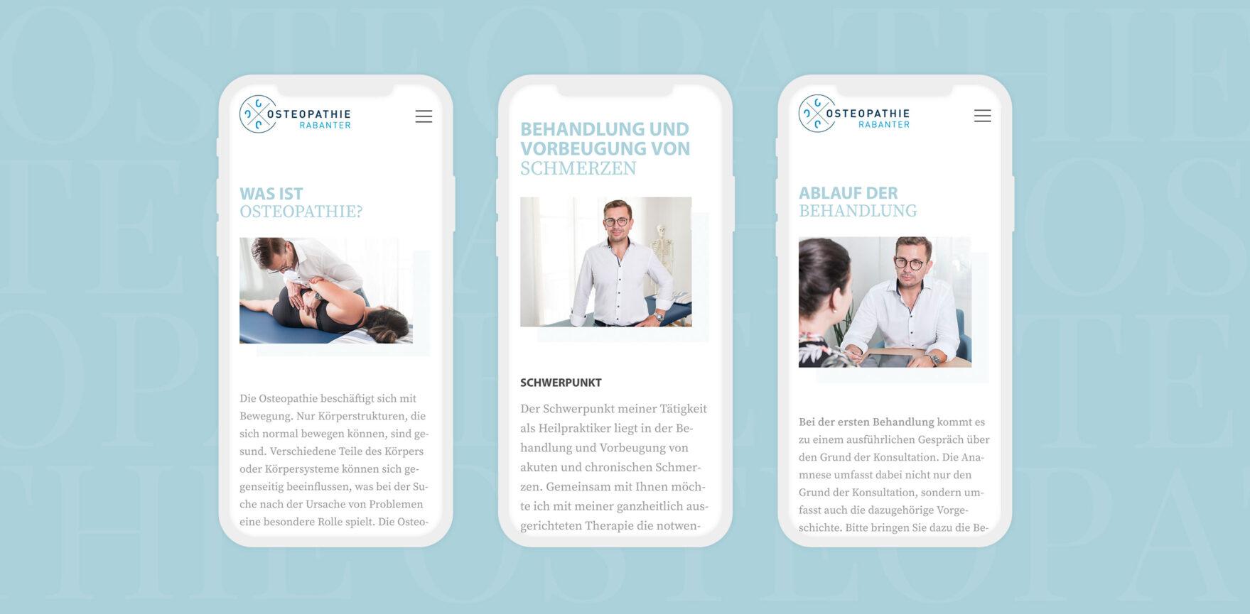 mobile Ansichten Website Osteopathie Rabanter