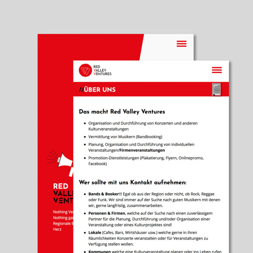 Referenz Red Valley Ventures mobile Ansicht Website