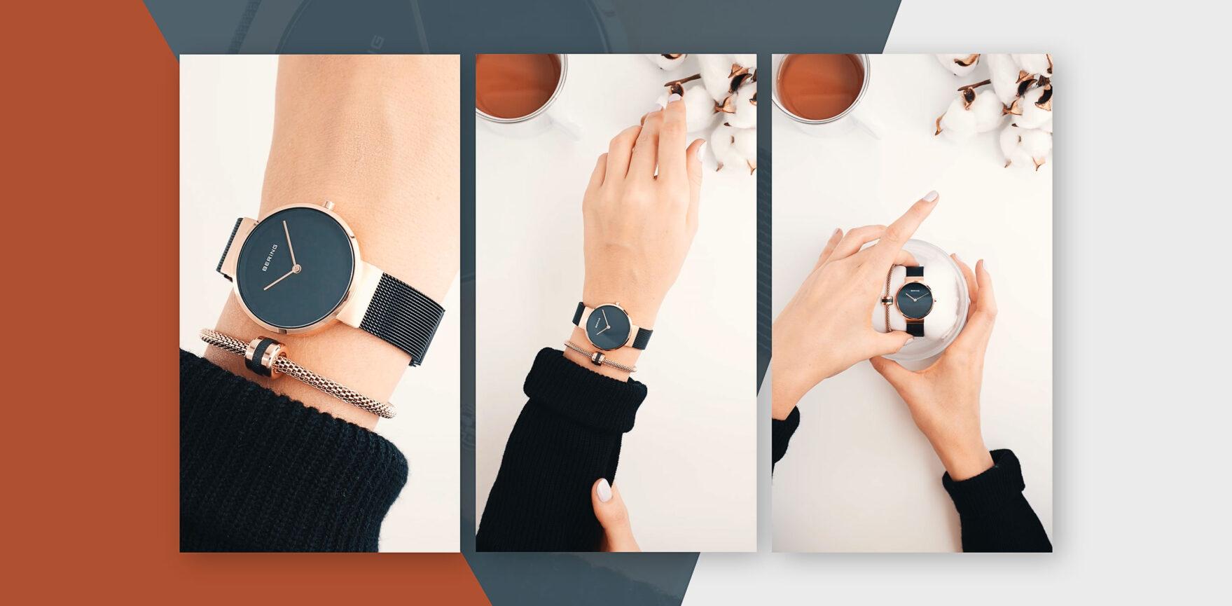 BERING Instagram Story Ads GeschenkSets Uhr und Armband schwarz