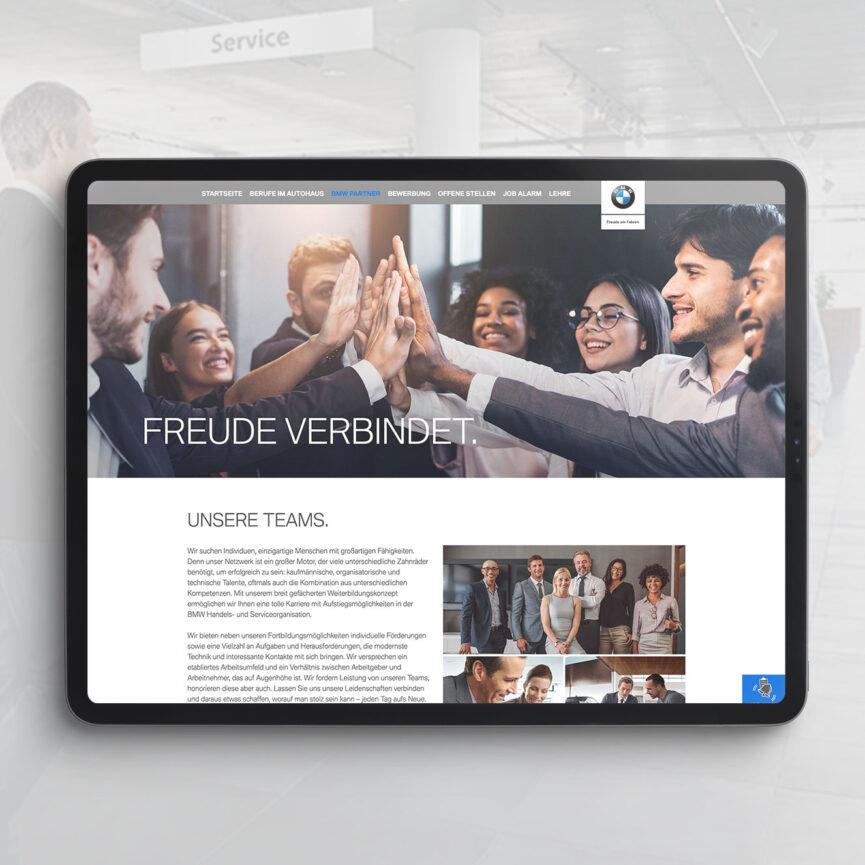 BMW Karriere Website Relaunch iPad Ansicht