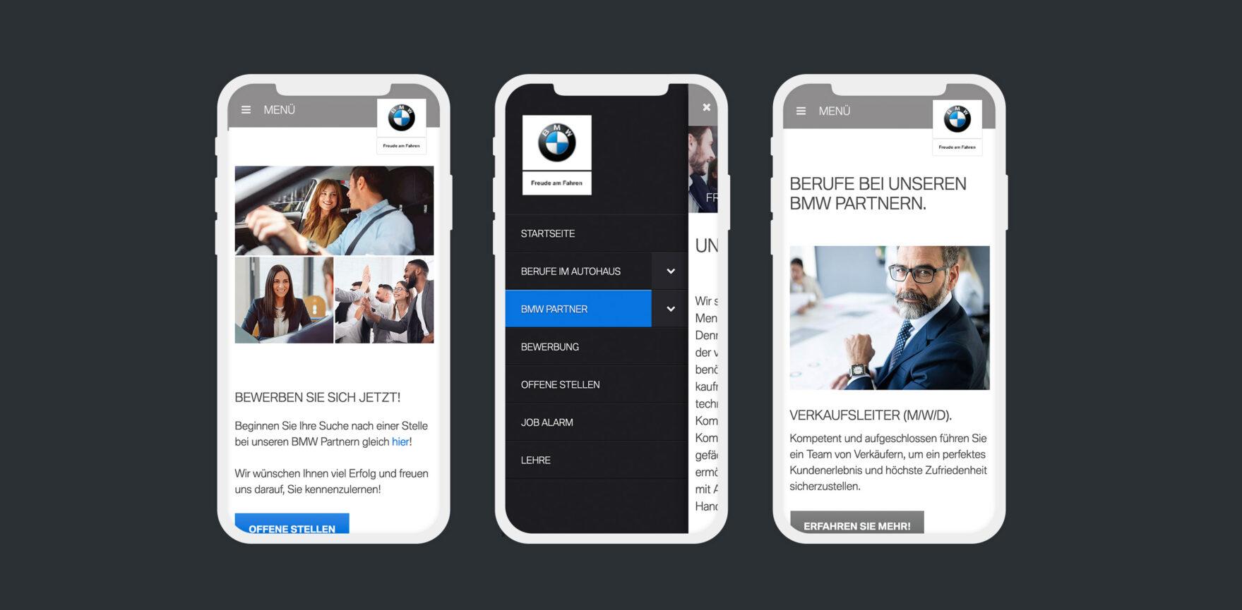 BMW Karriere mobile Ansicht