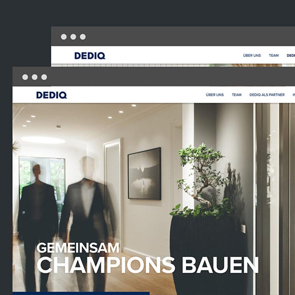 Webansicht Dediq Website Startseite