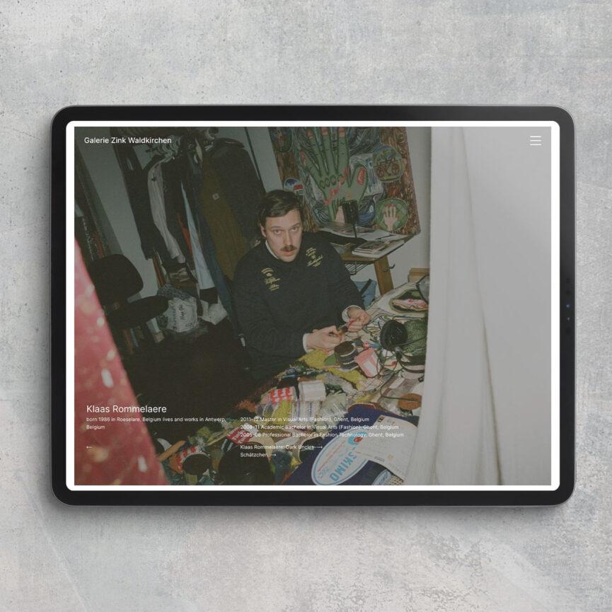 Galerie Zink Website Redesign responsive Version Tablet