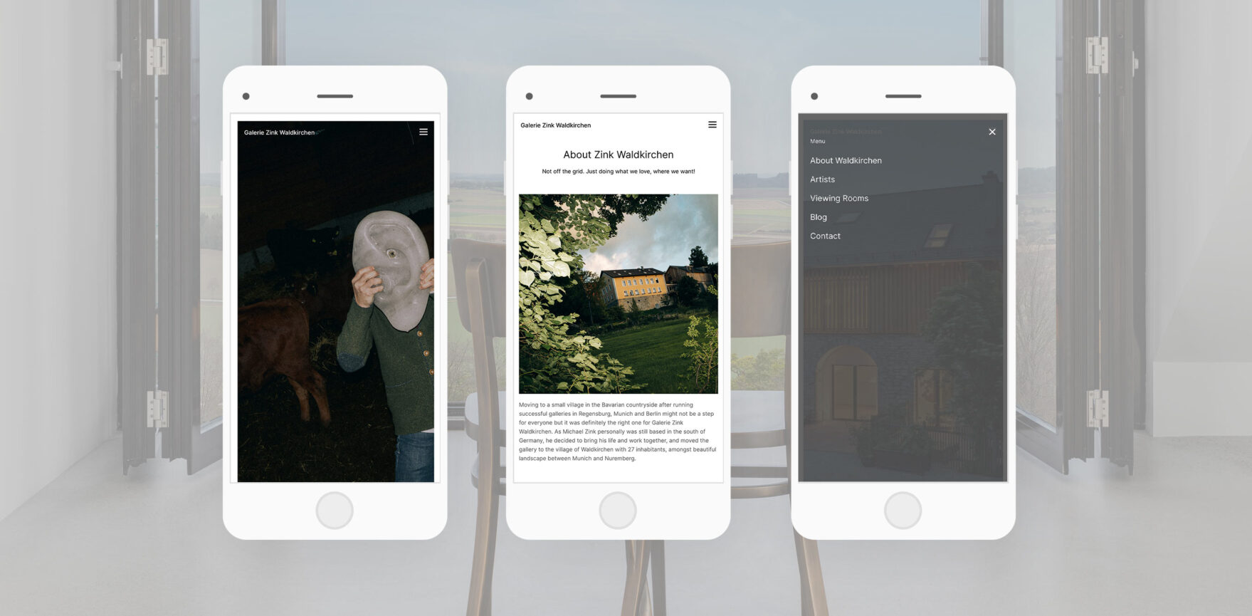 Galerie Zink Website Redesign responsive Design mobile Ansicht
