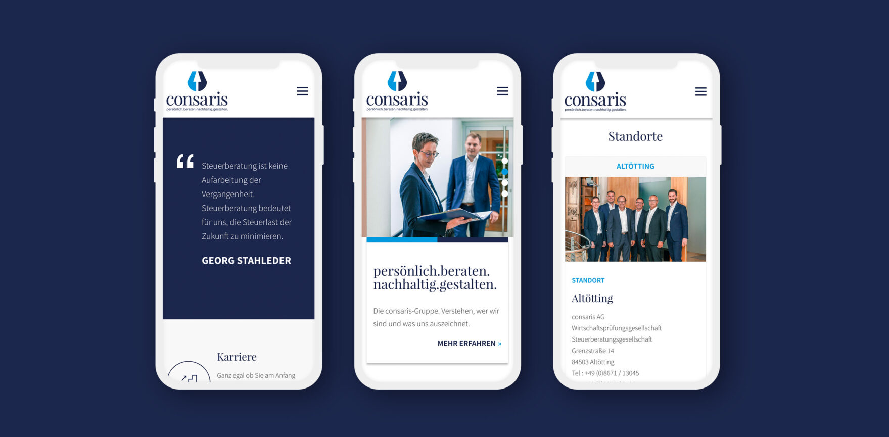 Mobile Ansicht Webseite Consaris