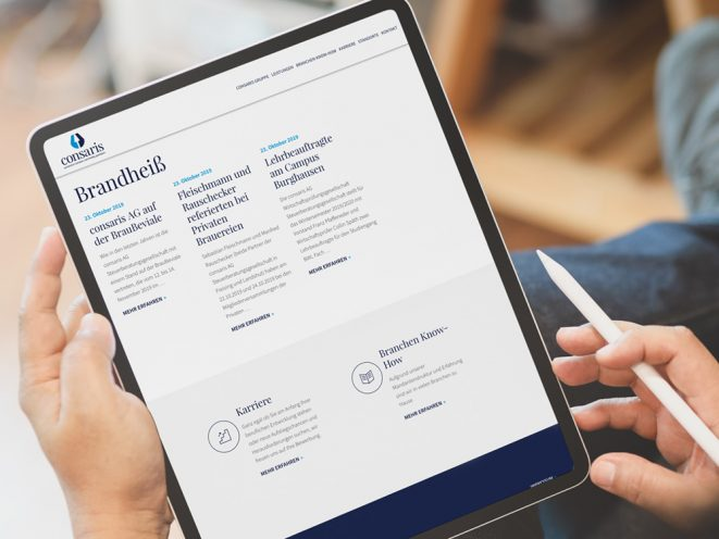 iPad Ansicht Webseite Consaris
