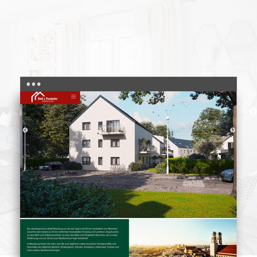 Rebl und Penzkofer Website Immobilien Unterseite Projekt