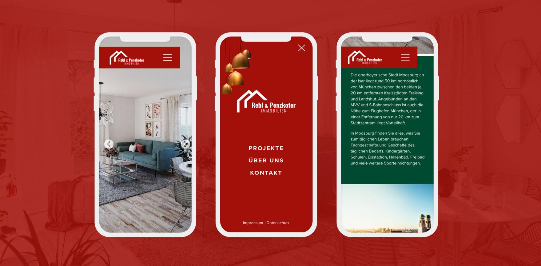 Rebl und Penzkofer Website Immobilien mobile Ansicht