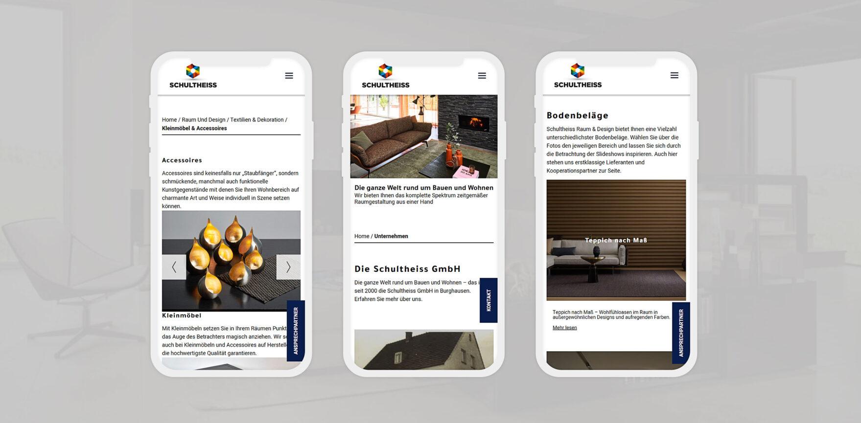 Mobile Ansicht Website Schultheiss GmbH auf Smartphone