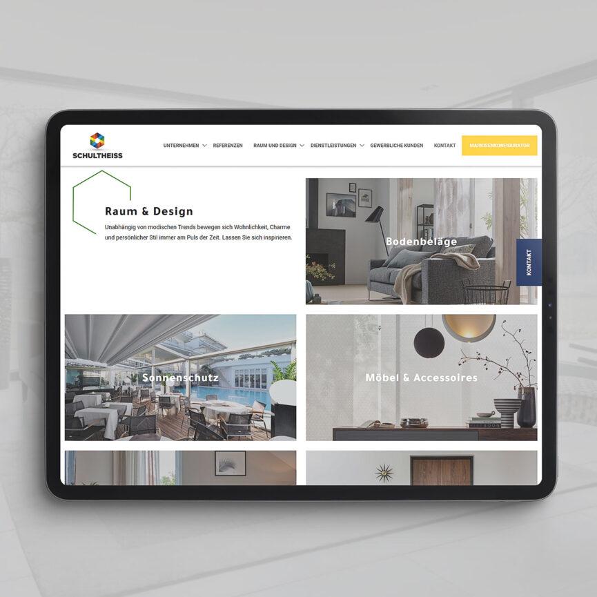 Tablet Vollansicht mit Webseite Raum und Design Schultheiss GmbH