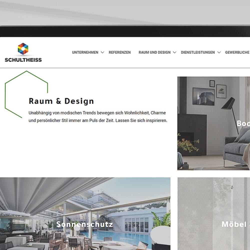 tablet mobile Ansicht der Schultheiss GmbH Webseite Raum und Design