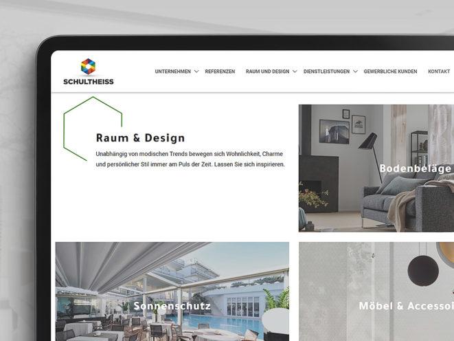 tablet mobile Ansicht der Schultheiss GmbH Webseite Raum & Design
